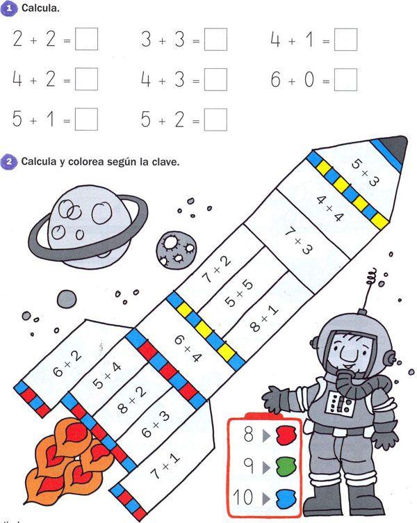 Sumas iniciales para niños con fichas de matemáticas primeras sumas ...