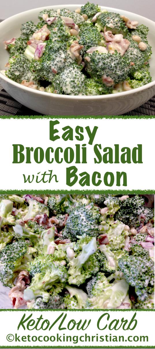 Easy Keto Broccoli Salad with Bacon #ketofriendlysalads