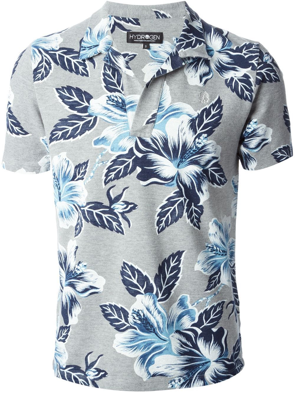 b702a79eded21 Hydrogen Camisa Polo Floral. Stylized Hybiscus pattern on light gray. More  Men's Fashion Trends, Polo Shirts and trending outfits ...