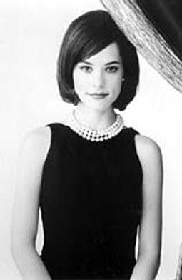 Bob Haircut Simple Black Dress Pearls Classic Look Charming Dress Gamine Style Classic Black Dress