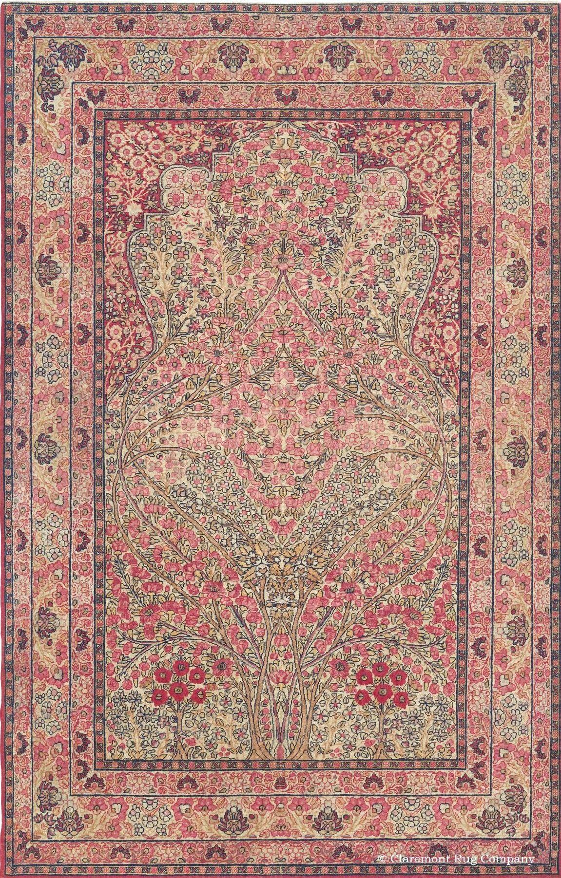 Persian Kerman Laver rug, 9ft 10in x 12ft 4in, circa 1900, Claremont gallery