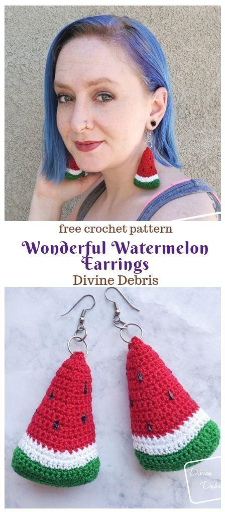 Wonderful Watermelon Earrings free crochet pattern