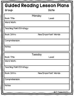 Guided Reading Lesson Plan Template Pinterest Guided Reading - Reading group lesson plan template