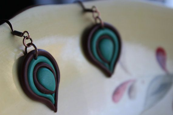 Peacock feather inspired Earring Polymer Clay .@ Etsy