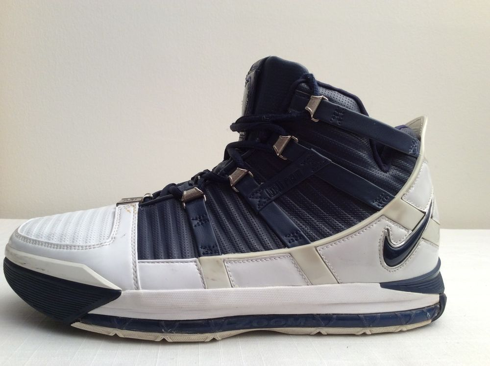 c2aeac935adb4 NIKE AIR LEBRON III 3 WHITE NAVY BLUE SILVER WOLF GRAY  3121147-141  SIZE  10.5  Nike  AthleticSneakers