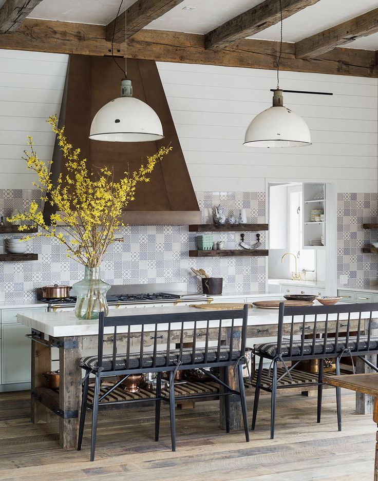 antiques mix with industrial and shaker style