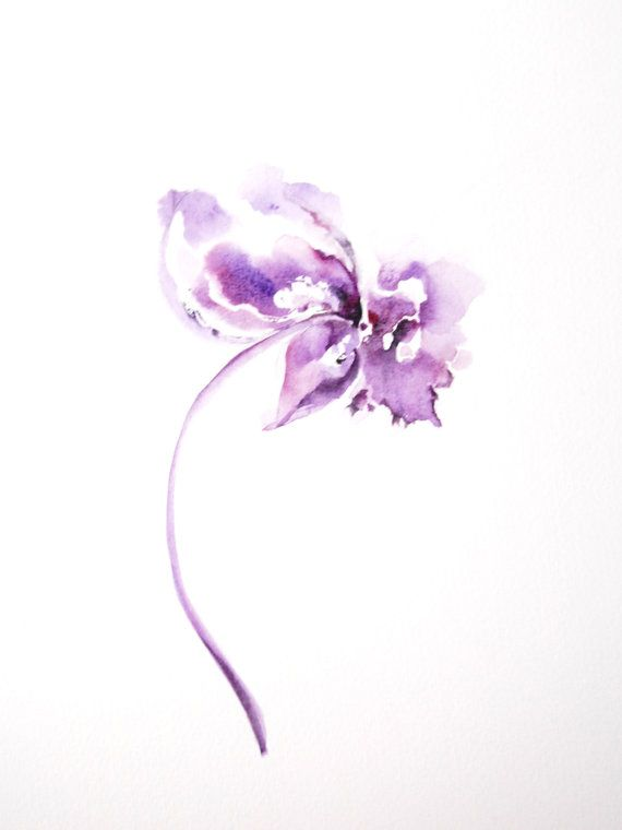 Purple Flower Watercolor Original Painting Minimalist Art