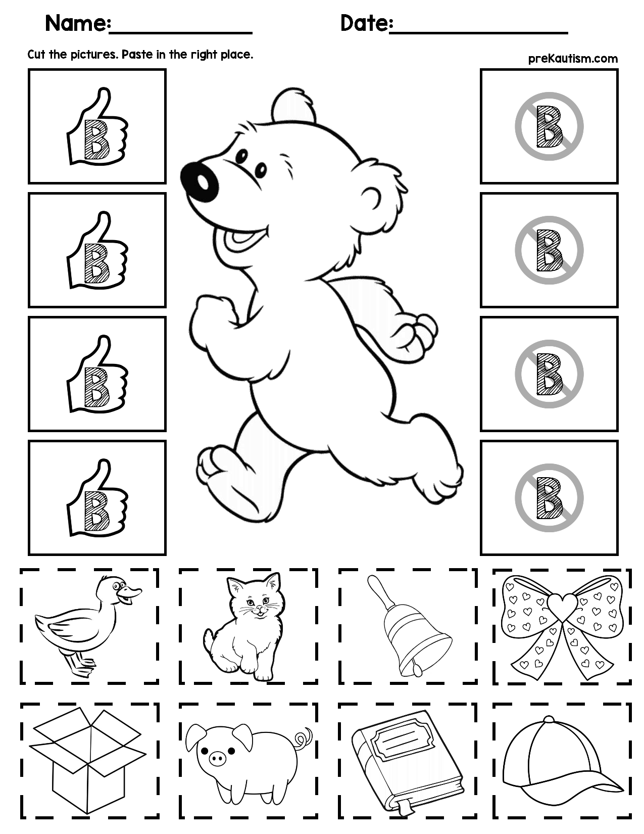 Initial Consonants Cut And Match Worksheets