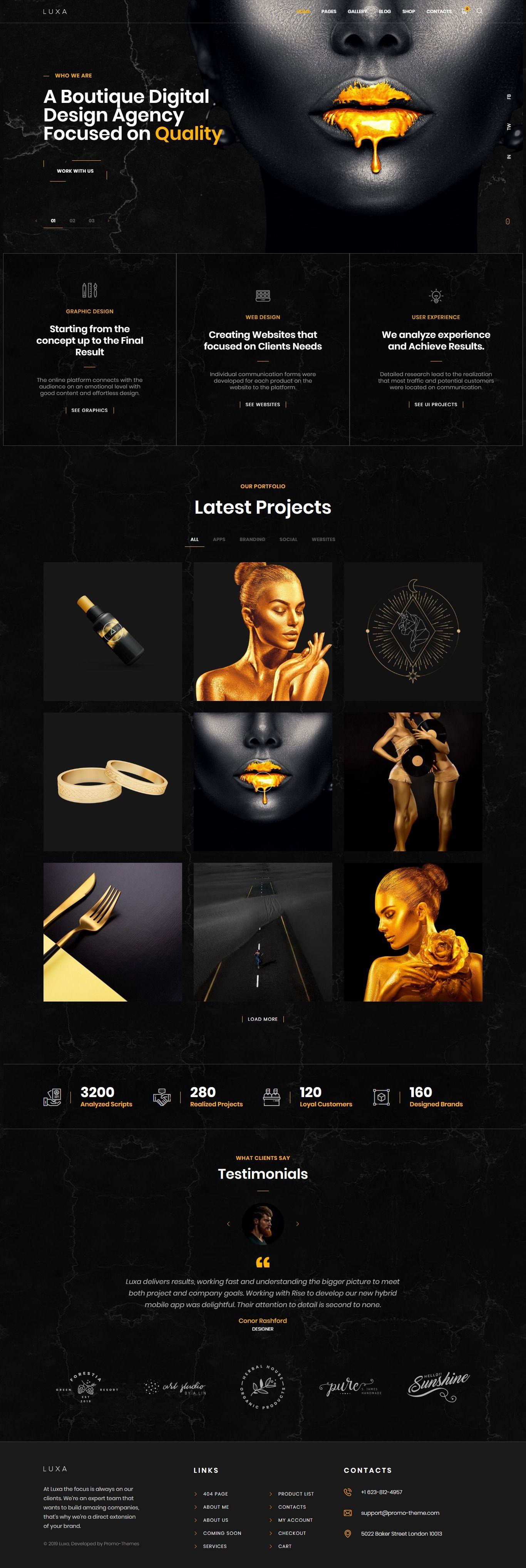 Luxa Luxury Black Multipurpose Wordpress Theme With Images