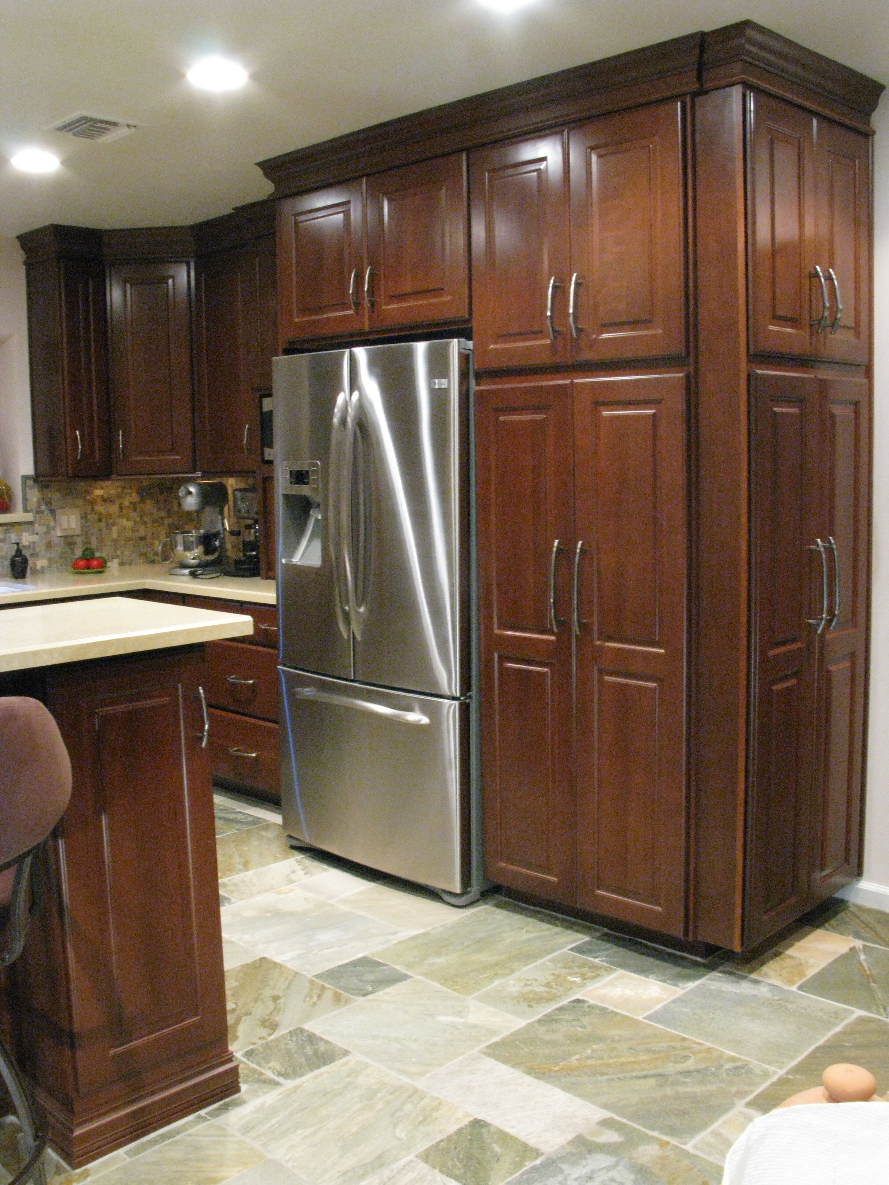 Dark Cherry Cabinets With Slate Floor Kitchen Flooring Cherry Cabinets Espresso Kitchen Cabinets