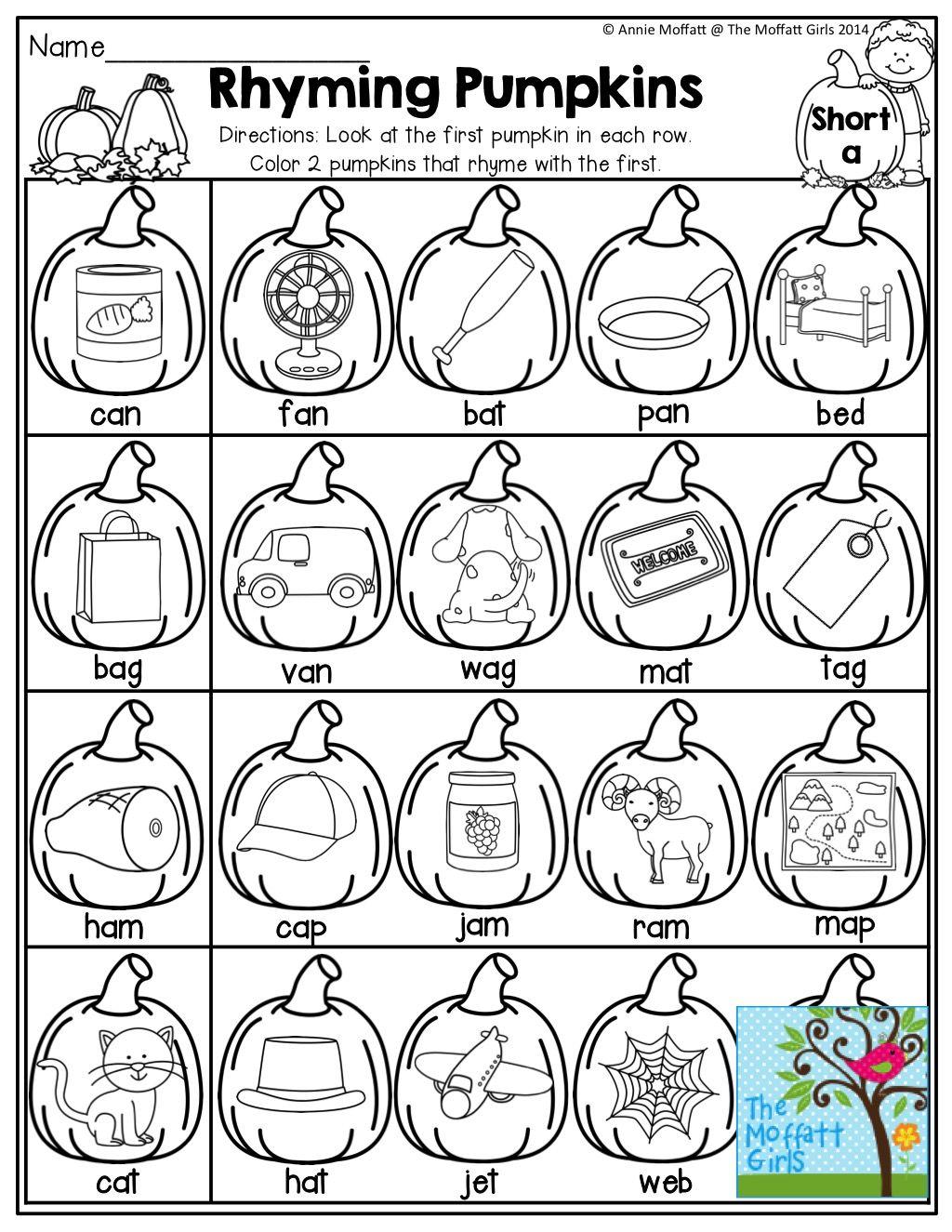 rhyming pumpkins match the first pumpkin with the pumpkin that