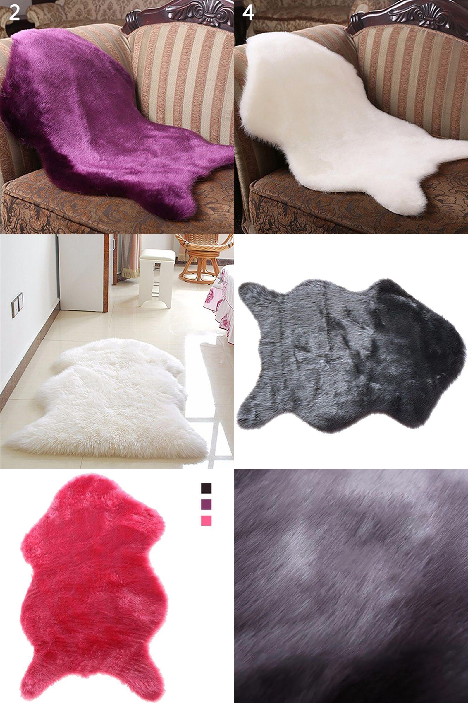 Visit to Buy] Faux Sheepskin Rug Mat Carpet Pad Anti Slip Chair