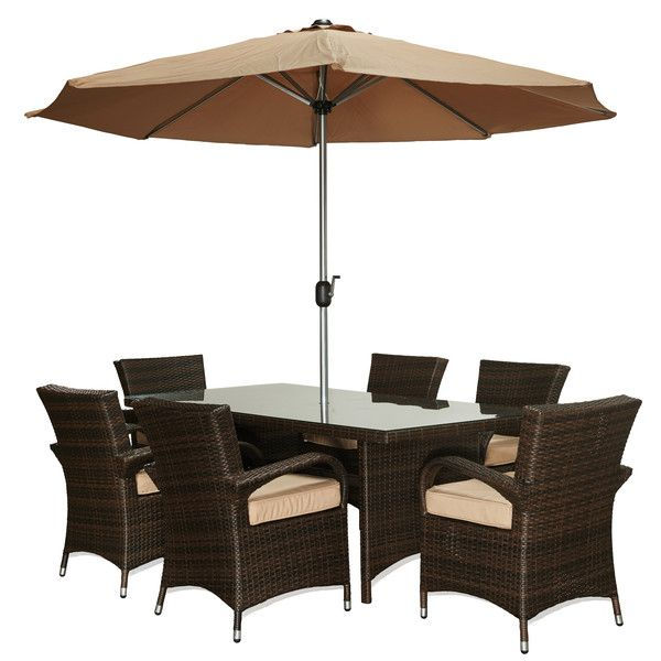 Berke 8 Piece Patio Set With Umbrella And Cushions $1158 (reg $1459)