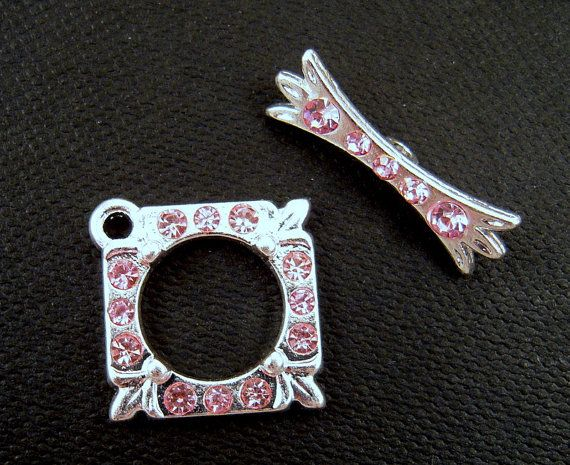 Pale Pink Rhinestone Silver Toggle Clasp by EthnicBeadShop on Etsy, $2.50