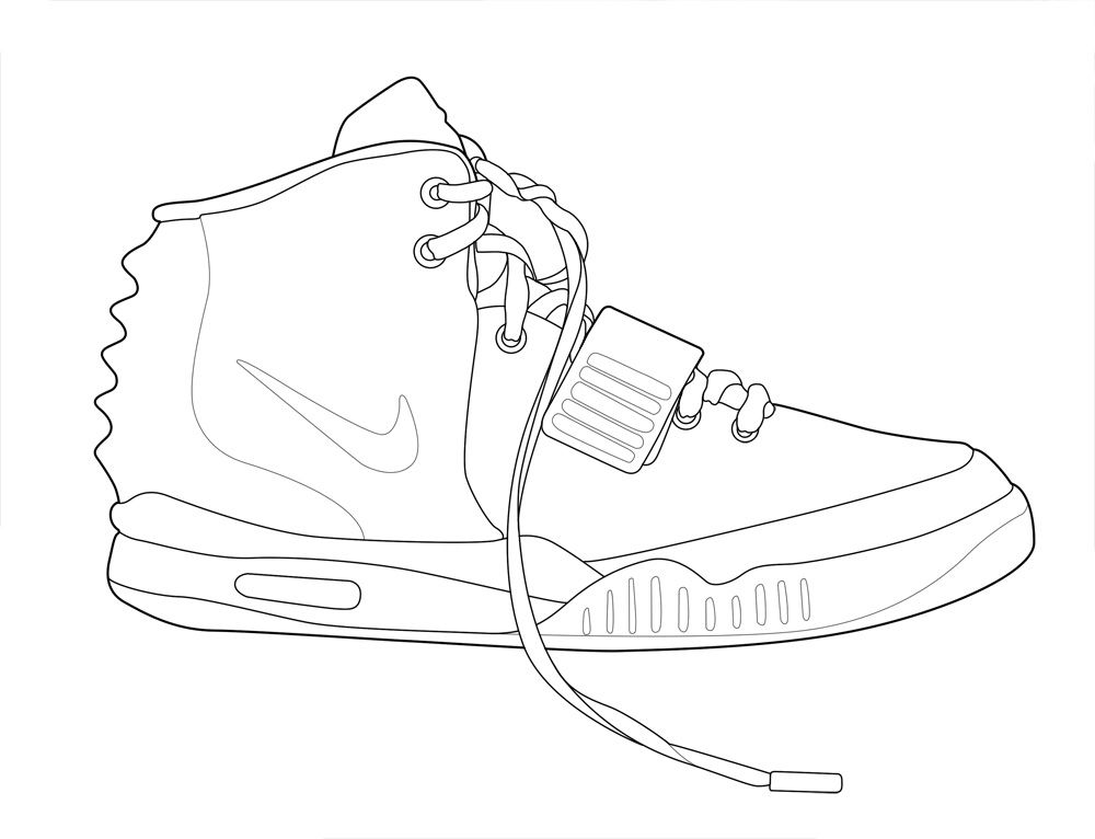 Air Yeezy 2 Drawing Sketch Template Air Yeezy Coloring Pages Jordan Coloring Book