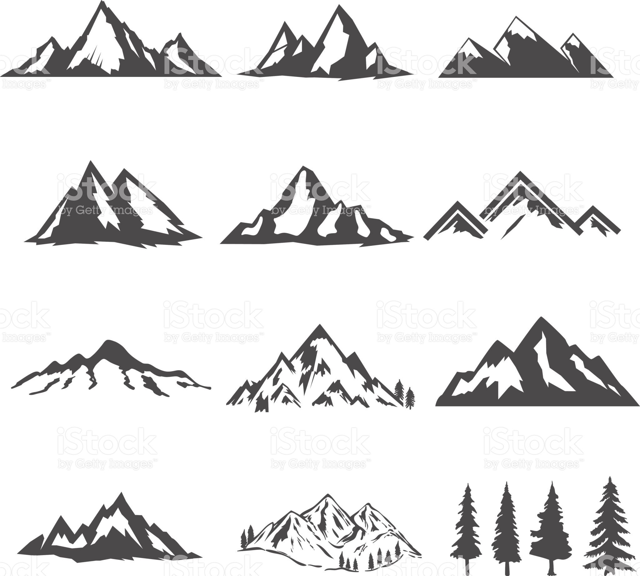 set of the mountains illustrations isolated on white