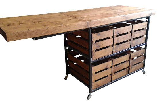 Fabulous Industrial Rustic Kitchen Island With Folding Breakfast Bar Table Bar Table Diy Diy Dining Kitchen Bar Table