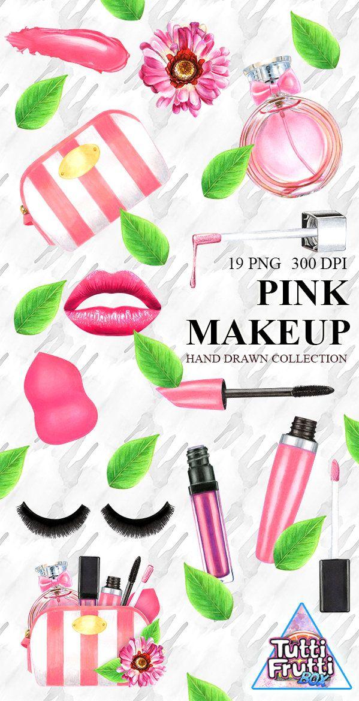 Watercolor Makeup Clipart Set Beauty Blog Illustration