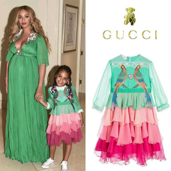 7ab313a99 Blue Ivy Carter with Beyonce wearing Green Pink Gucci Girls Mini Me Chiffon  Dress