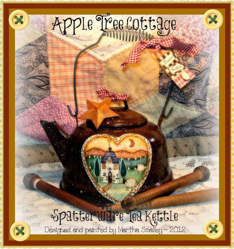 "E Pattern - Martha Smalley's Apple Tree Cottage Designs - ""Spatterware Tea Kettle"". $5.00, via Etsy."
