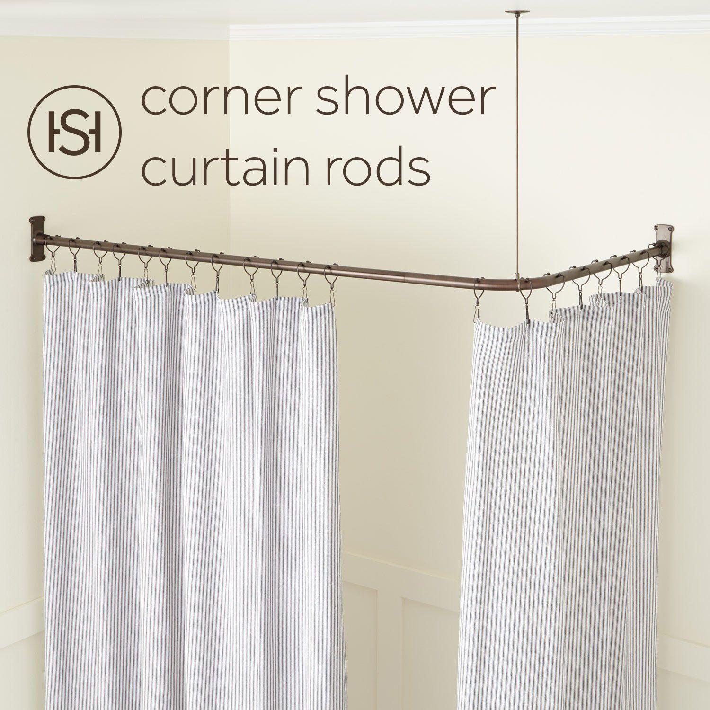 corner solid brass shower curtain rod