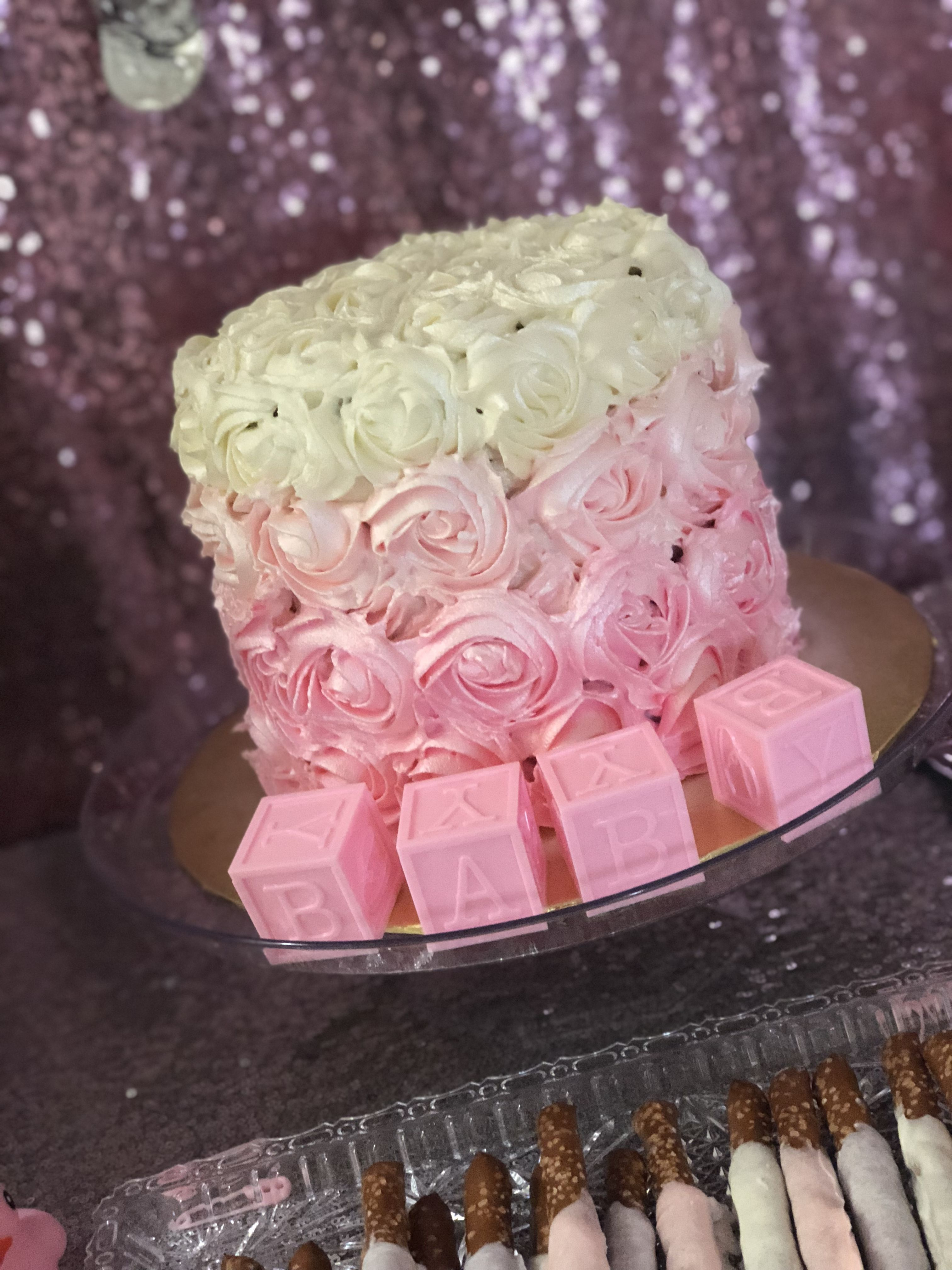 macaron drip cake baby shower gender reveal nj | Blue