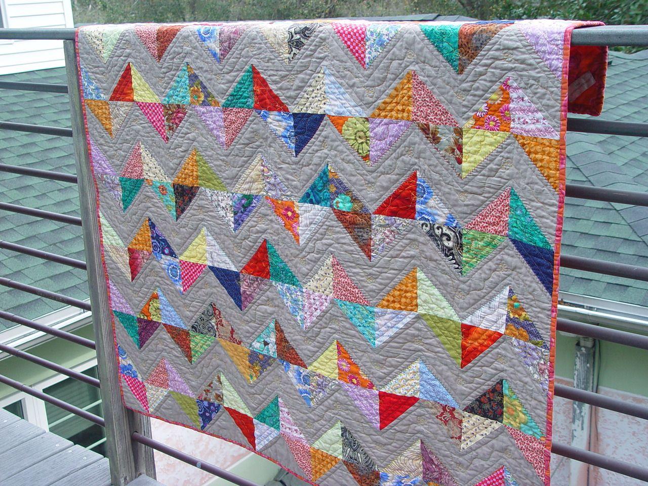Zig Zag Quilt Pattern Triangles : Zig Zag Triangle Lap Quilt Half square triangles, Triangles and Squares
