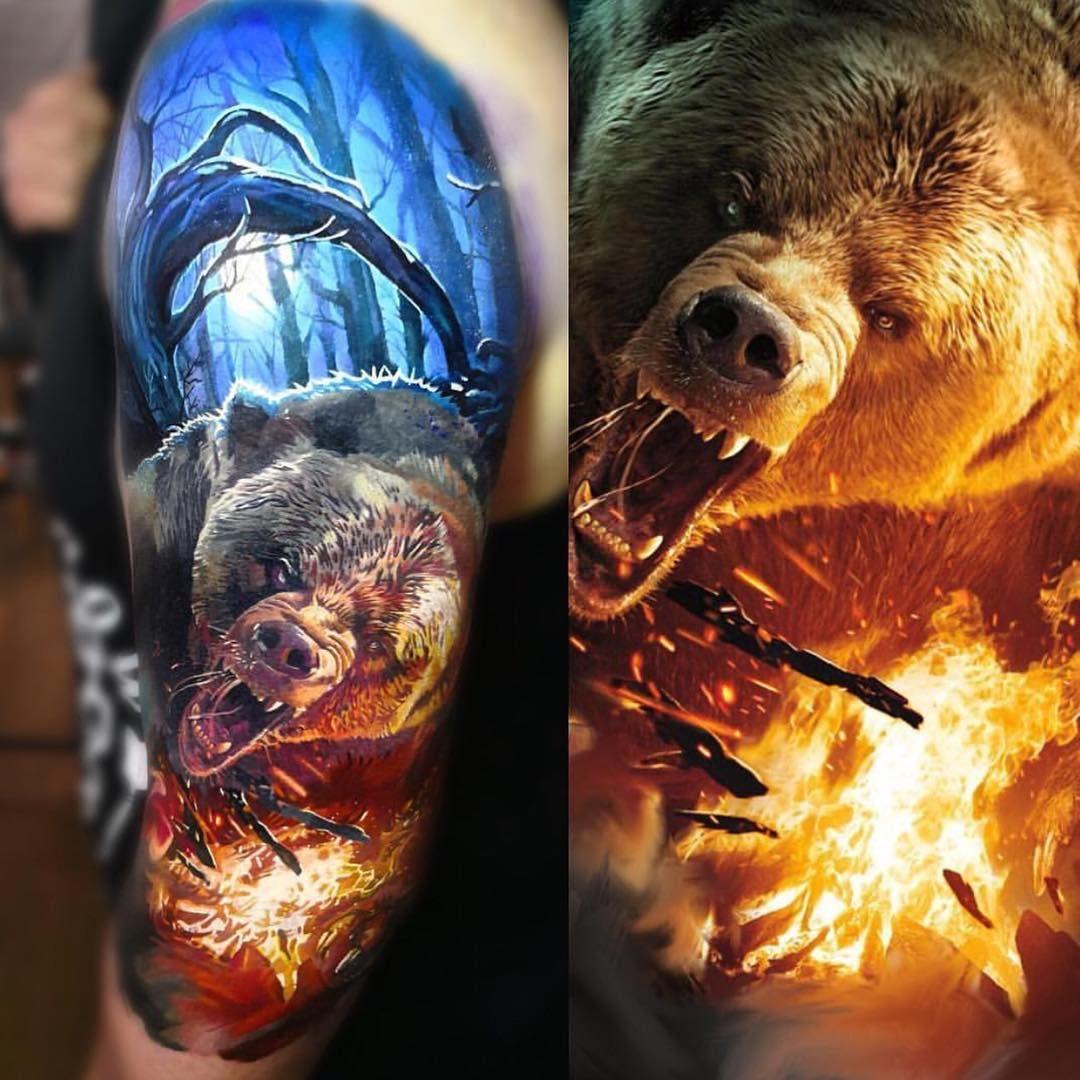 татумедведьтатумедведьплечо татухиtattoos татуировки медведя