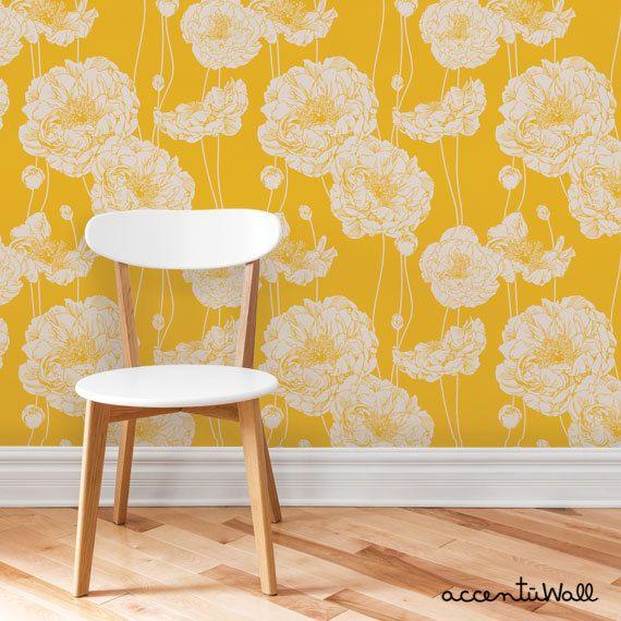 Peony Yellow Peel Stick Fabric Wallpaper Repositionable Peony Wallpaper Home Wallpaper Yellow Wallpaper