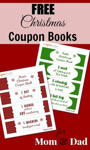 Free Christmas Coupon Book Printables For Mom And Dad Christmas