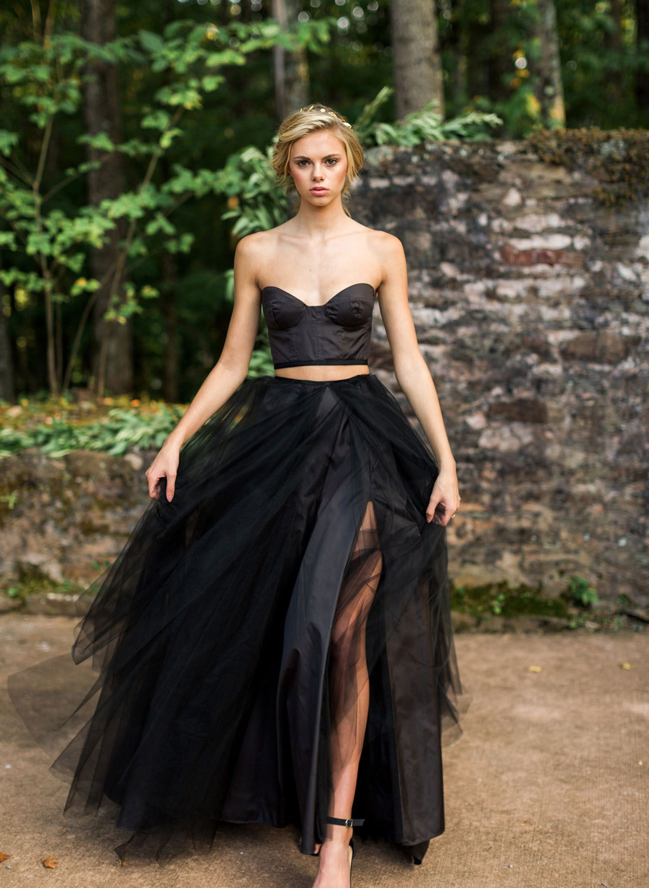 Fall Gothic Bridal Inspiration With A Black Gown Green Wedding Shoes Black Wedding Dresses Wedding Skirt Bridal Shower Dress [ 1780 x 1300 Pixel ]