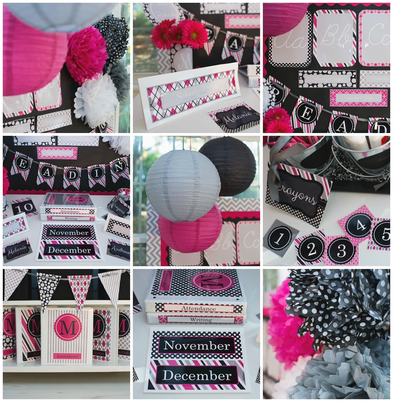 Classroom Decor Gray : Hot pink black gray classroom theme and decor by