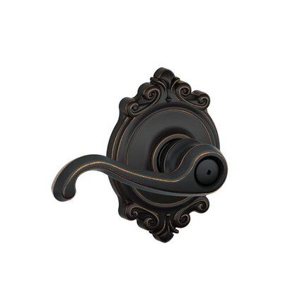 Schlage Callington F Series Privacy Door Lever with Brookshire Rosette Finish: Aged Bronze