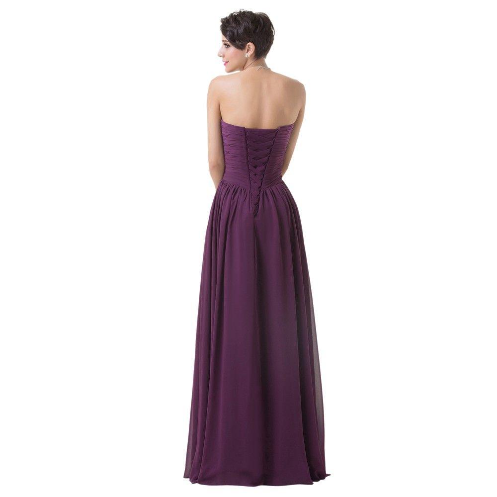 Floor Length Chiffon Long Bandage Purple Bridesmaid Dress