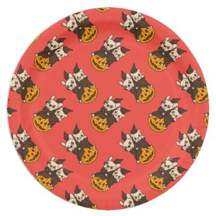 Cute Frenchie and kitten are Halloween buddies Paper Plate