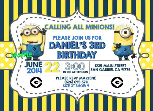Despicable Me 2 Minion Photo Birthday Party Invitations