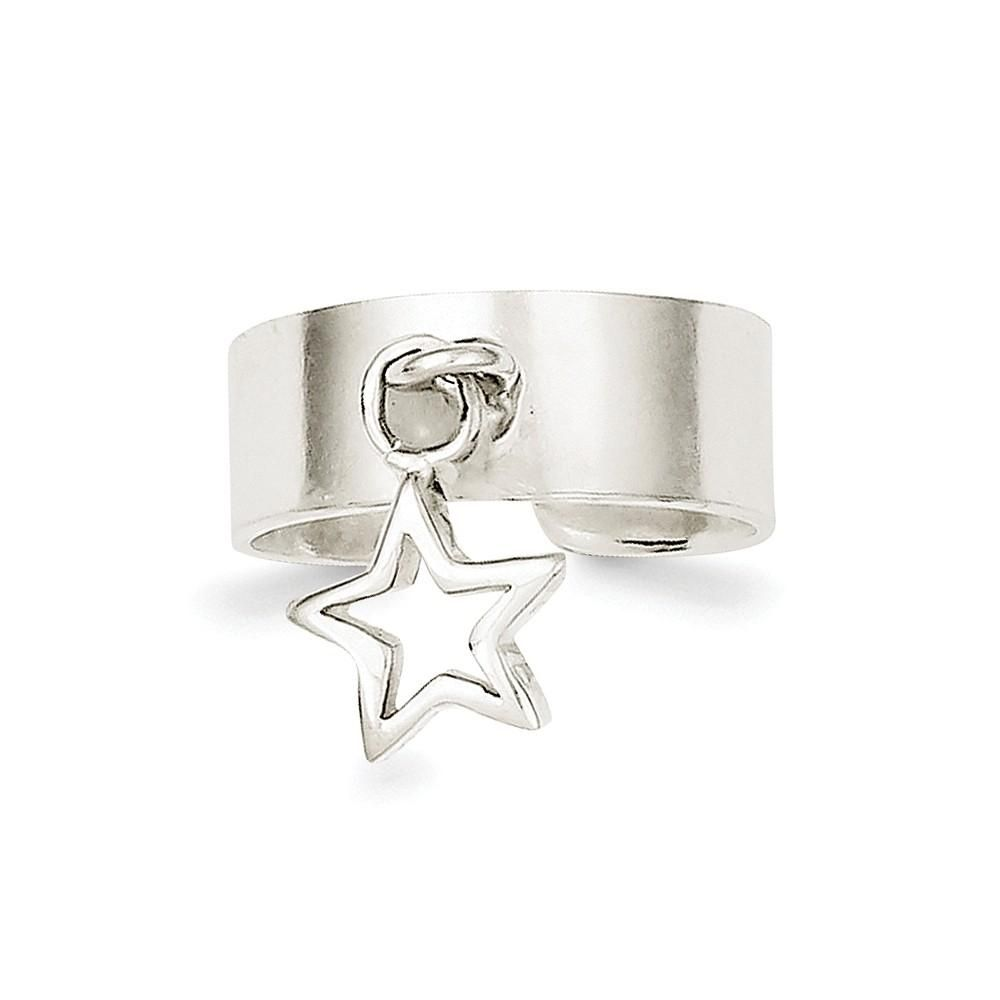 925 Sterling Silver Star Dangle Toe Ring Toe Rings Silver