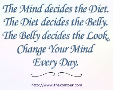 The Mind decides the Diet. The Diet decides the Belly. The Belly decides the Look. Change Your Mind Every Day.