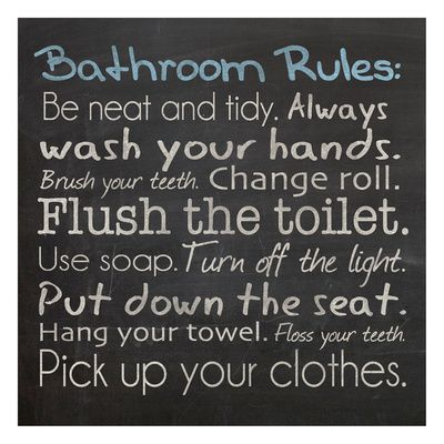 Merveilleux Bathroom Rules By Lauren Gibbons, Mounted Print, Black