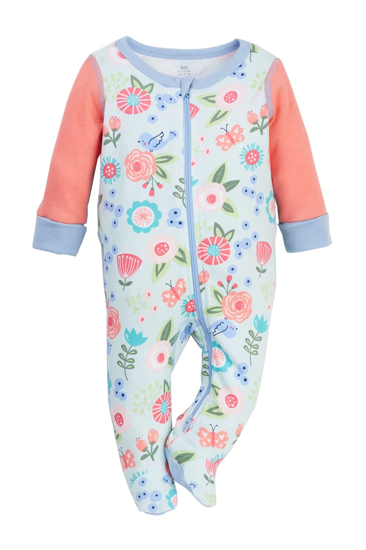 Boppy Floral Sleep N Play Footie Baby Girls