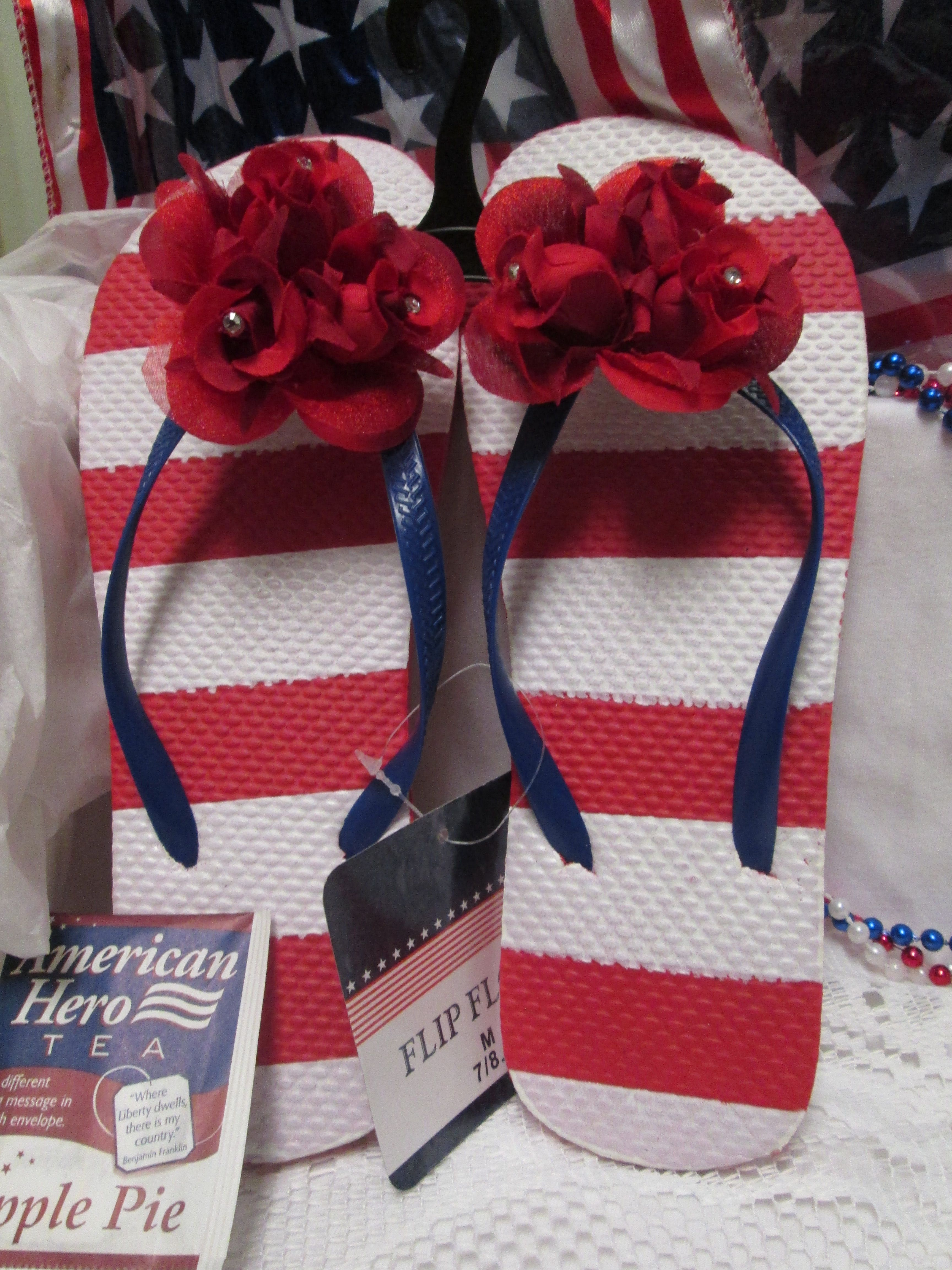 6441bf183 Summer Beach Patriotic Americana Stars Stripes Red White Blue Flip Flop  Sandal Set your toes free