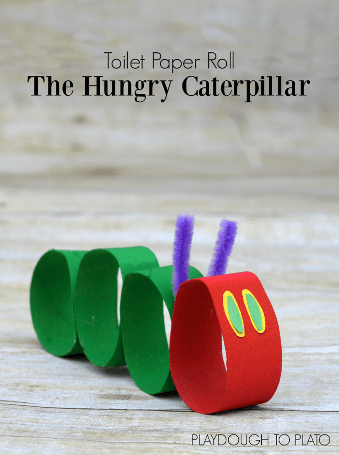 Transform the hungry caterpillar from The Very Hungry Caterpillar into a craft for kids using toilet paper rolls. The perfect craft for springtime with preschoolers! #hungrycaterpillar #preschool #springtimecrafts