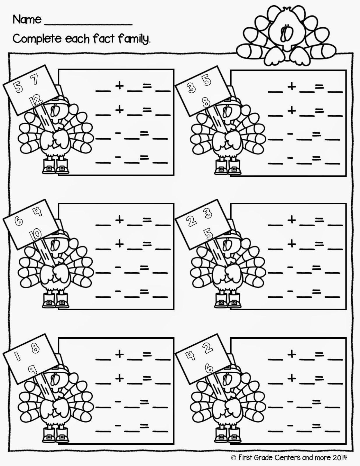 small resolution of Fact Family Worksheets 1st Grade Thanksgiving Week in 2020   Fact family  worksheet