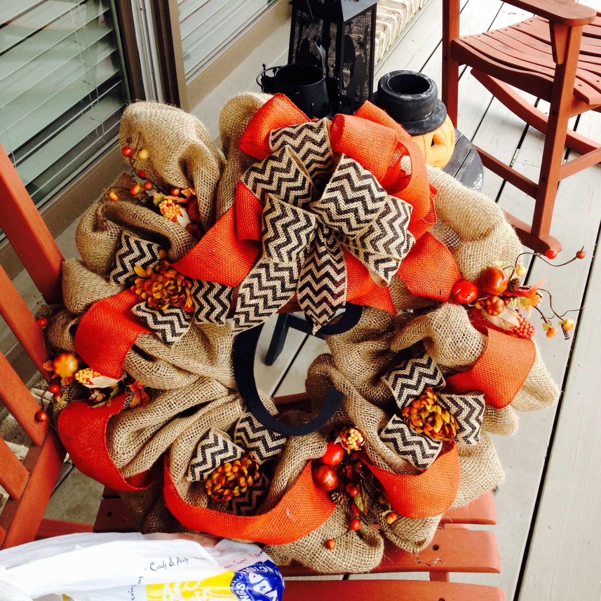 Cheveron burlap wreath