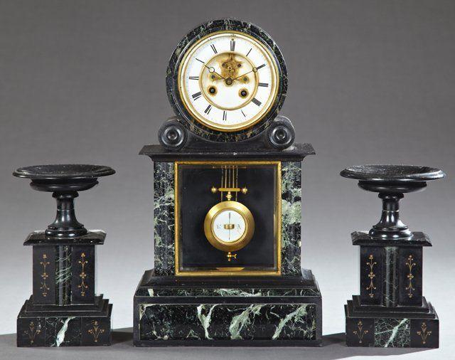 Three Piece Black And Verde Antico Marble Clock Set 19th C By Samuel Marti Marble Clock Clock Antique Clocks