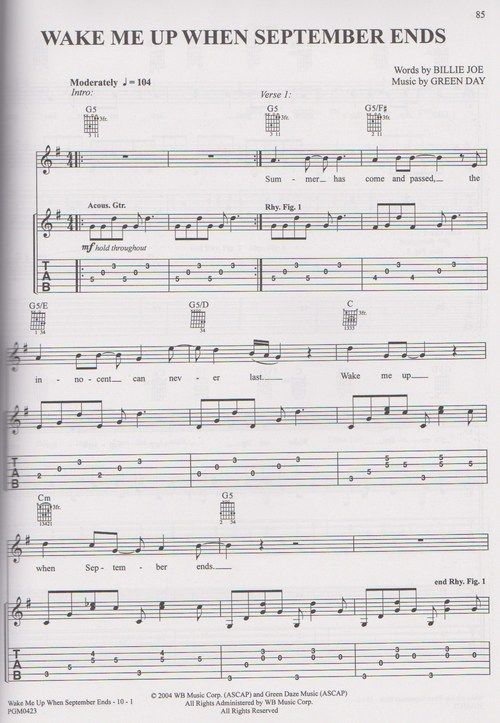 Green Day Music Sheet Wake Me Up When September Ends When
