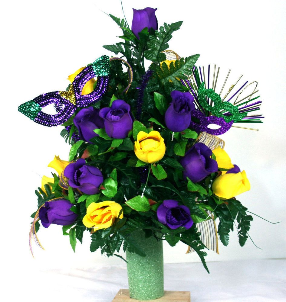 Beautiful Mardi Gras Purple And Yellow Roses 3 Inch Cemetery Vase