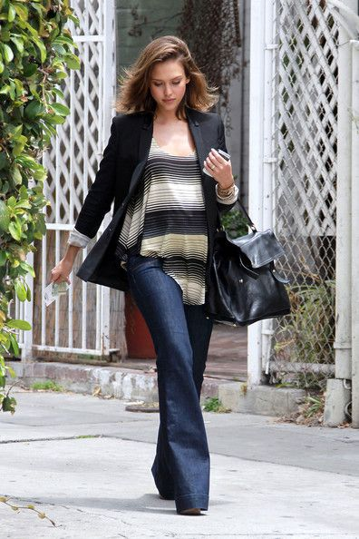 1580181f21b3c Jessica Alba Flare Jeans - Jessica Alba Fashion Lookbook - StyleBistro