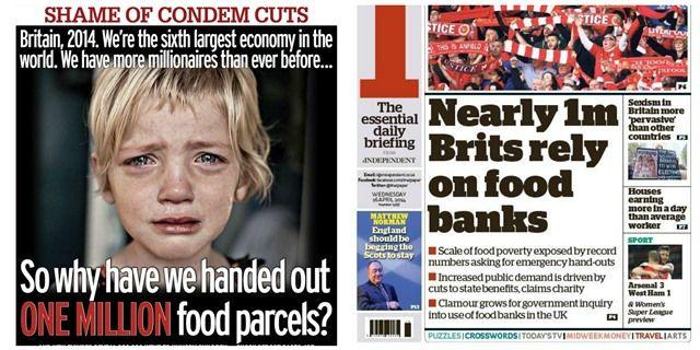 The Daily Mirror y The Independent, dos formas de ilustrar la pobreza