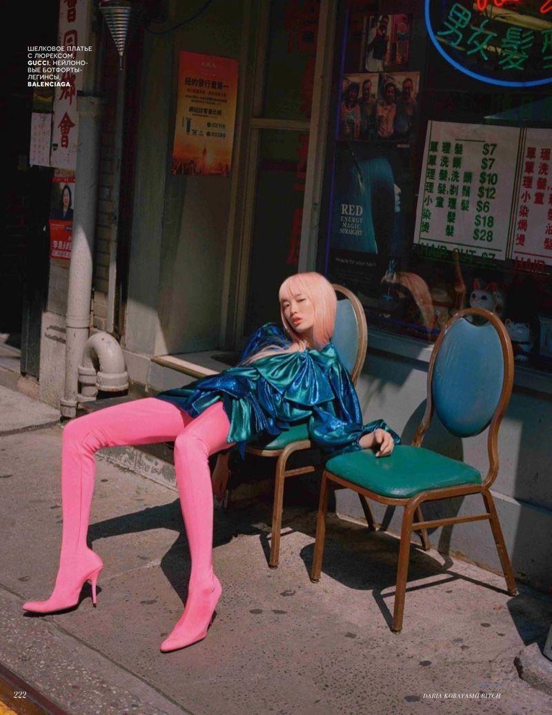 Fernanda Ly Models Colorful Ensembles for Vogue Russia - Fernanda Ly in Gucci dress amp Balenciaga b